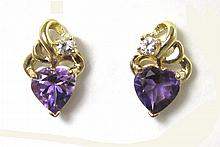 PAIR OF AMETHYST AND DIAMOND EARRINGS, each 14k