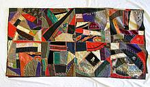 AMERICAN HAND PIECED CRAZY QUILT, c. 1900, having