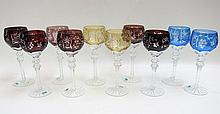 SET OF TEN CRYSTAL BOHEMIAN WINE GOBLETS.