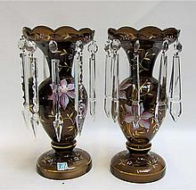 PAIR HAND ENAMELED GLASS LUSTRES, having pink