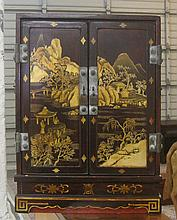 SMALL CHINESE CABINET, the double doors decorated
