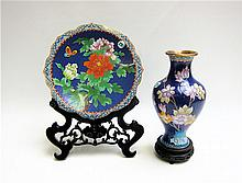 CHINESE CLOISONNE PLATE AND VASE having copper