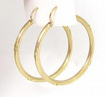 PAIR OF FOURTEEN KARAT GOLD HOOP EARRINGS, each