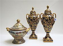 PAIR CERAMIC URNS AND A COVERED BOWL: split