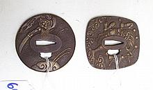 TWO DECORATIVE CAST BRONZE TSUBA'S, the first a