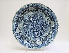 CHINESE BLUE UNDERGLAZE PORCELAIN CHARGER, hand