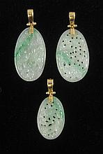 THREE CHINESE JADE PENDANTS, each 14k yellow gold