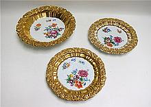 SET OF THREE MEISSEN PORCELAINS, with hand