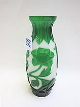 CHINESE PEKING CAMEO GLASS VASE, having green