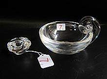 STEUBEN CRYSTAL BOWL AND FROG PAPERWEIGHT, clear