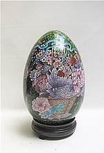 CHINESE CLOISONNE EGG, decorated with colorful