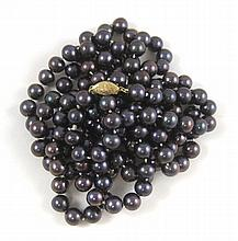 ROPE LENGTH BLACK PEARL NECKLACE, measuring 56-1/2