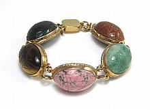 SCARAB STONE BRACELET, having five large