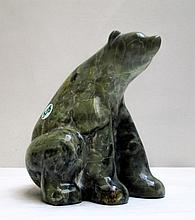 ALASKAN CARVED HARDSTONE BEAR SCULPTURE by Eddie