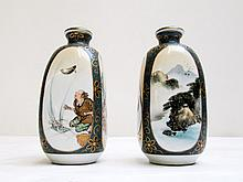 PAIR OF MEIJI JAPANESE SATSUMA STOPPED BOTTLES