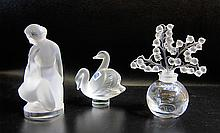 LALIQUE FRANCE CRYSTAL PAPERWEIGHTS AND PERFUME,