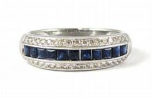 SAPPHIRE, DIAMOND AND FOURTEEN KARAT WHITE GOLD