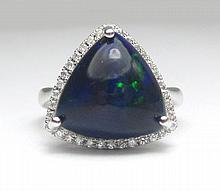 BLACK OPAL AND DIAMOND RING, 14k white gold with
