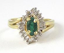 EMERALD, DIAMOND AND TEN KARAT GOLD RING, set with