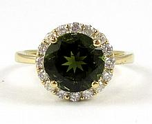GREEN TOURMALINE AND DIAMOND RING, 14k yellow gold