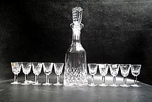 WATERFORD CUT CRYSTAL DECANTER AND CORDIAL SET,  eleven pieces in the
