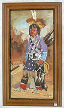 HOMER COLLINS OIL ON CANVAS (Montana/Georgia, 20th century) Native American boy in dancing outfit.  Image measures 30
