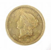 U.S. ONE DOLLAR GOLD COIN, a Liberty head type 1, 1853-P.