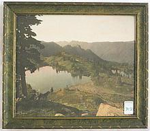ASAHEL CURTIS HAND COLORED PHOTOGRAPH (Washington, 1874-1941) Alpine Lakes with two dogs in the foreground.  Image measures 16