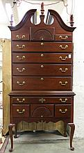 QUEEN ANNE STYLE MAHOGANY HIGHBOY CHEST, American Drew Furniture Co., High Point, North Carolina, 20th century.  Dimensions: 90