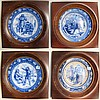 FOUR FRAMED WEDGWOOD FLOW BLUE PLATES,