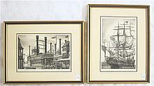 ALAN JAY GAINES, TWO ETCHINGS (American, 20th century) The river steamboat