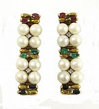 PAIR OF PEARL AND DIAMOND EARRINGS, each 18k yellow gold set with eight round white pearls, two round-cut diamonds, two marquise-cut rubies, two marquise-cut emeralds and two marquise-cut sapphires. Earring length: 1-1/2 inches.