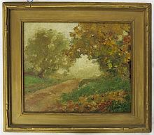 ATTRIBUTED TO CHARLES MORGAN McILHENNEY OIL ON CANVAS LAID ON BOARD (Pennsylvania, 1858-1904) Country road, an Impressionist landscape with large oak trees. Image measures 12.75