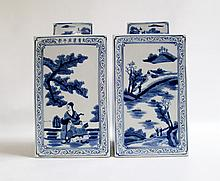 PAIR OF CHINESE REPUBLIC PERIOD SQUARE COVERED PORCELAIN JARS having hand painted blue and white scenes of every day life in a fishing village. Heights 14 inches.