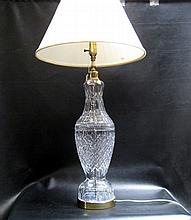 WATERFORD CRYSTAL TABLE LAMP with pleated fabric shade.  Lamp height 38 inches.