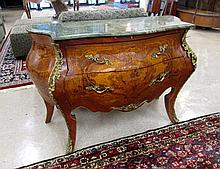LOUIS XV STYLE MARBLE-TOP BOMBE COMMODE, a 2-drawer marquetry inlaid commode with ormolu mounts and conformingly shaped verde marble top.  Dimensions: 32