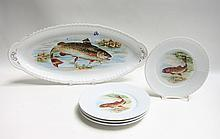 AUSTRIAN PORCELAIN FISH PLATTER AND PLATE SET, five pieces having transfer fish designs by Victoria, comprised of 1 fish platter, and 4 plates, 8.5