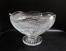 WATERFORD CRYSTAL DESIGNER STUDIO BOWL in a diamond and palm pattern with a scalloped rim raised on circular foot.  Diameter 11.75 inches.