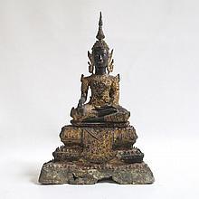 SEVENTEENTH CENTURY STYLE THAI BODHISATTVA SCULPTURE featuring a gilt seated figure in a gestural pose.  Height 13 inches.