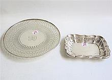 TWO STERLING SILVER HOLLOWWARE: a shallow bowl by