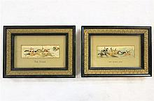 TWO EMBROIDERED SILK FOX HUNTING SCENES by Thomas