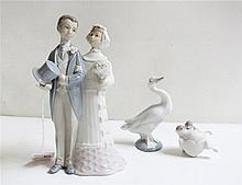 THREE LLADRO FIGURINES of soft paste porcelain: