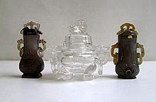 THREE PIECES OF CHINESE AGATE AND ROCK CRYSTAL,