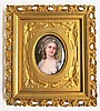 FRAMED HAND PAINTED PORTRAIT MINIATURE featuring a