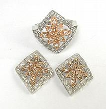 THREE PIECE DIAMOND AND TEN KARAT GOLD SET,
