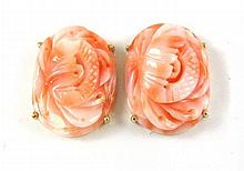 PAIR OF TWO-TONE PINK CORAL EARRINGS, each 14k