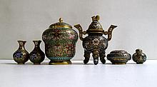 SIX PIECES OF CHINESE CLOISONNE consisting of a