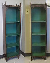 A SMALL PAIR OF MAHOGANY BOOKCASES, American,