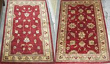 TWO SIMILAR HAND KNOTTED ORIENTAL AREA RUGS,
