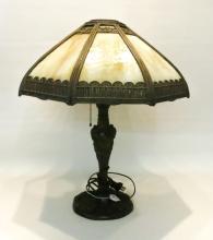 SLAG GLASS TABLE LAMP, the shade having eight cara
